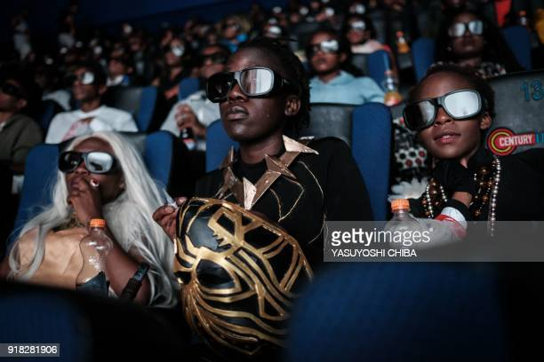 Csosplayers watch the film 'Black Panther' in 3D which featuring Oscarwinning Mexico born Kenyan actress Lupita Nyongo during Movie Jabbers Black...