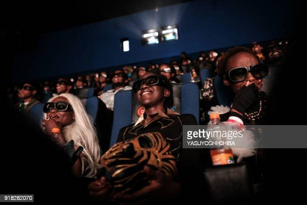 Csosplayers watch the film Black Panther in 3D which featuring Oscarwinning Mexico born Kenyan actress Lupita Nyongo during Movie Jabbers Black...