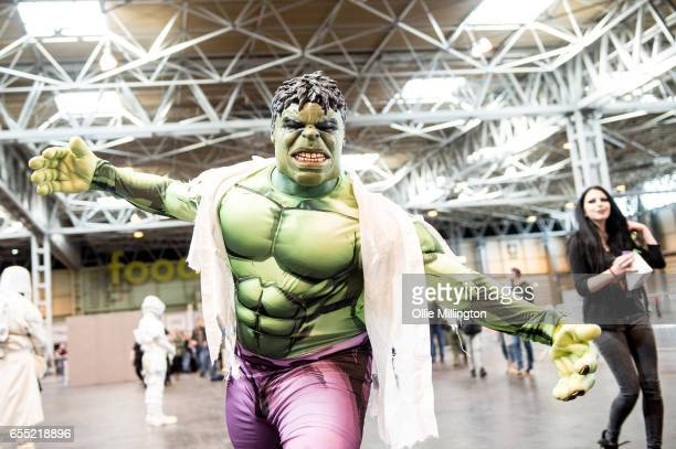 A csplayer as The Hulk during the MCM Birmingham Comic Con at NEC Arena on March 19 2017 in Birmingham England