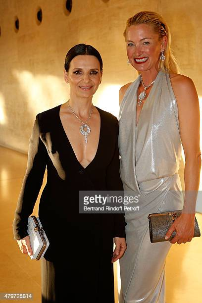 ctress Juliette Binoche and Designer of LSW Lili Wittgenstein attend the Dinner for the Fine Art Of Jewelry and Time Pieces at Louvre on July 6 2015...