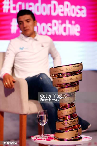 cuadorean cyclist Richard Carapaz the country's first cyclist to win the Giro d'Italia attends a press conference in Ekopark upon arrival in Quito on...