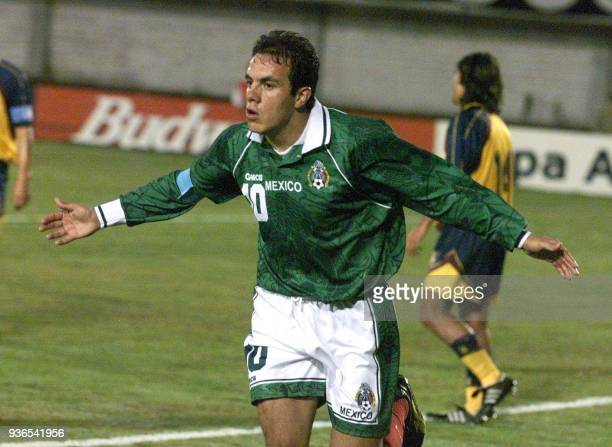 Cuahtemoc Blanco of Mexico celebrates his team's third goal 06 July during their first round Copa America match against Venezuela in Ciudad del Este...