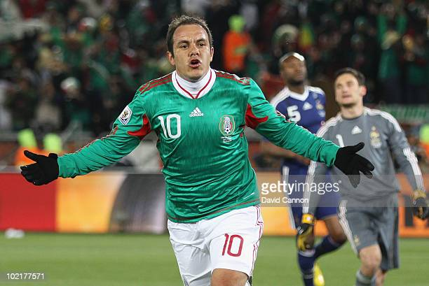 Cuauhtemoc Blanco celebrates scoring a penalty for his team's second goal during the 2010 FIFA World Cup South Africa Group A match between France...