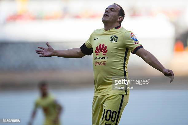 Cuauhtemoc Blanco of America gestures during the 9th round match between America and Morelia as part of the Clausura 2016 Liga MX at Azteca Stadium...