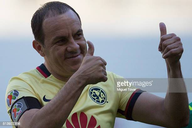 Cuauhtemoc Blanco of America greets fans prior the 9th round match between America and Morelia as part of the Clausura 2016 Liga MX at Azteca Stadium...
