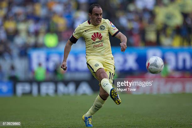 Cuauhtemoc Blanco of America kicks the ball during the 9th round match between America and Morelia as part of the Clausura 2016 Liga MX at Azteca...