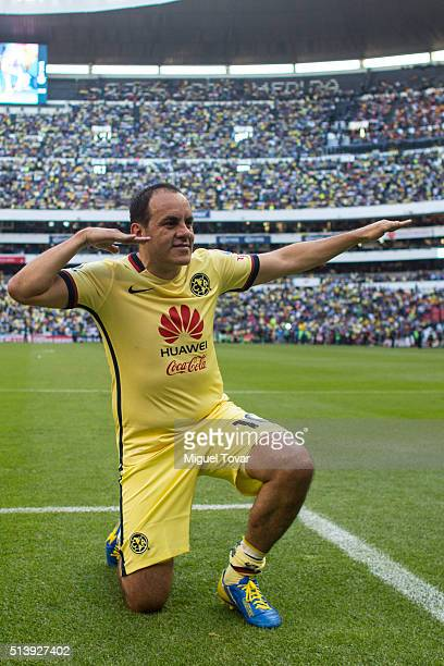 Cuauhtemoc Blanco of America poses for pictures during the 9th round match between America and Morelia as part of the Clausura 2016 Liga MX at Azteca...