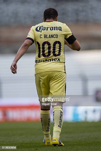 Cuauhtemoc Blanco of America walks during the 9th round match between America and Morelia as part of the Clausura 2016 Liga MX at Azteca Stadium on...