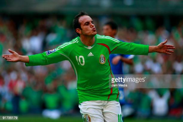 Cuauhtemoc Blanco of Mexico celebrates scored goal during a match against El Salvador as part of the FIFA 2010 World Cup Qualifying match at the...