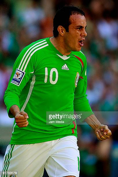 Cuauhtemoc Blanco of Mexico celebrates scored goal during their FIFA 2010 World Cup Qualifying match at the Azteca Stadium on October 10 2009 in...