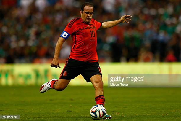 Cuauhtemoc Blanco of Mexico hits a shot during a FIFA friendly match between Mexico and Israel ahead the beginning of the FIFA World Cup Brazil 2014...