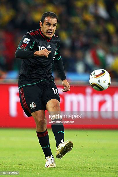 Cuauhtemoc Blanco of Mexico in action during the 2010 FIFA World Cup South Africa Group A match between South Africa and Mexico at Soccer City...