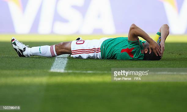 Cuauhtemoc Blanco of Mexico lays on the pitch during the 2010 FIFA World Cup South Africa Group A match between Mexico and Uruguay at the Royal...