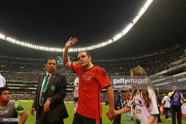 Cuauhtemoc Blanco of Mexico receives a tribute for his career during a FIFA friendly match between Mexico and Israel ahead the beginning of the FIFA...