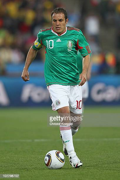 Cuauhtemoc Blanco of Mexico runs with the ball during the 2010 FIFA World Cup South Africa Group A match between Mexico and Uruguay at the Royal...