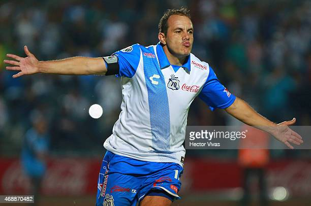 Cuauhtemoc Blanco of Puebla celebrates after scoring the third goal of his team During a semifinal match Between Puebla and Monterrey as part of...