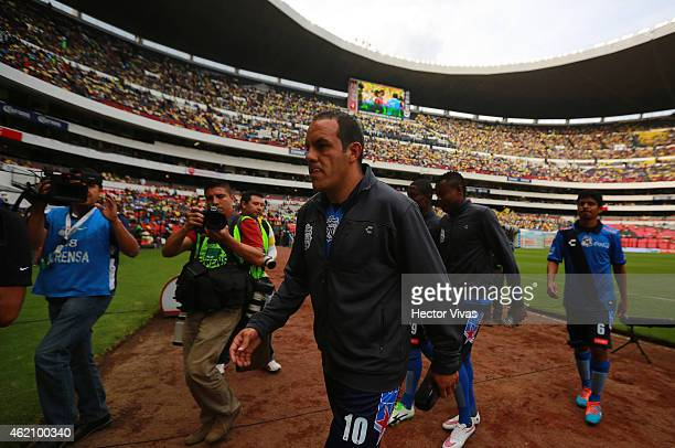 Cuauhtemoc Blanco of Puebla walks off the field during a match between America and Puebla as part of 3rd round Clausura 2015 Liga MX at Azteca...