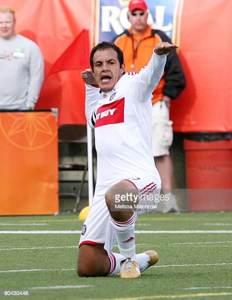 Cuauhtemoc Blanco of the Chicago Fire celebrates after the goal is scored against the Real Salt Lake at Rice-Eccles Stadium March 29, 2008 in Salt...