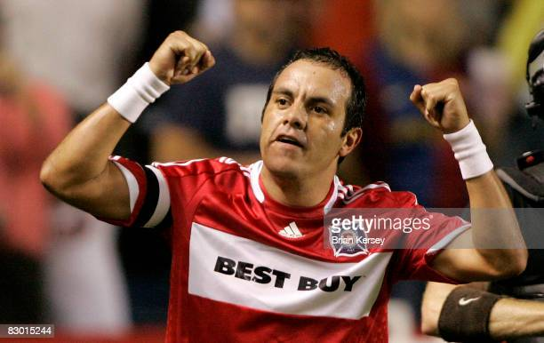 Cuauhtemoc Blanco of the Chicago Fire celebrates his goal against the Los Angeles Galaxy during the second half at Toyota Park on September 25, 2008...