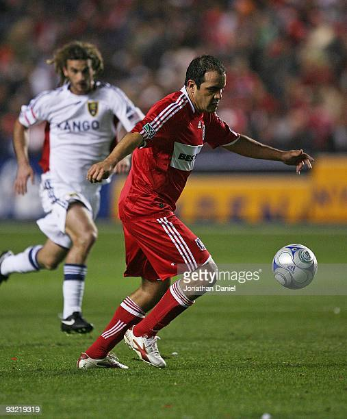 Cuauhtemoc Blanco of the Chicago Fire controls the ball in front of Kyle Beckerman of Real Salt Lake during the MLS Eastern Conference Championship...