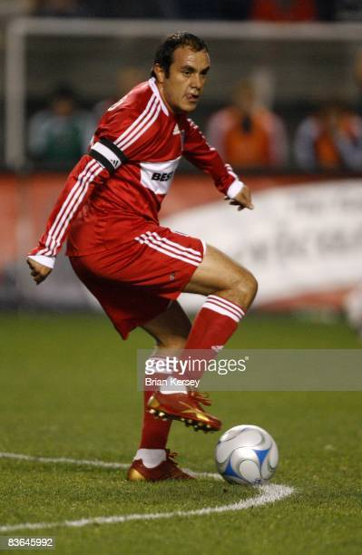 Cuauhtemoc Blanco of the Chicago Fire handles the ball against the New England Revolution during the first half of the second leg of the MLS Eastern...