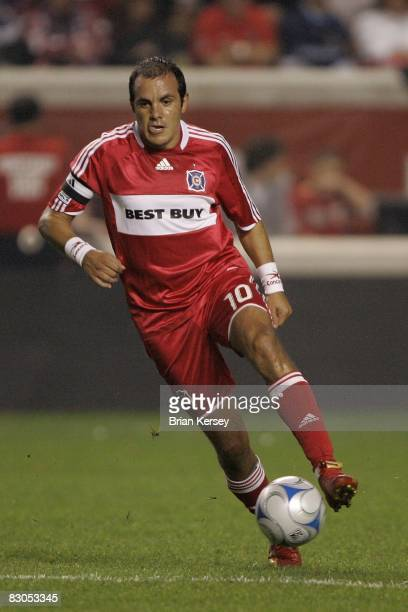 Cuauhtemoc Blanco of the Chicago Fire moves the ball against the Los Angeles Galaxy during the second half at Toyota Park on September 25 2008 in...