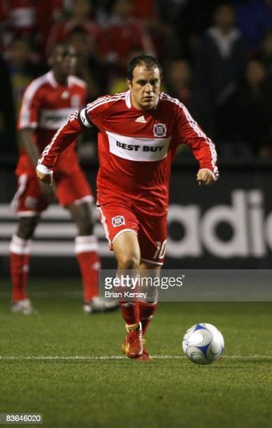 Cuauhtemoc Blanco of the Chicago Fire moves the ball against the New England Revolution during the first half of the second leg of the MLS Eastern...