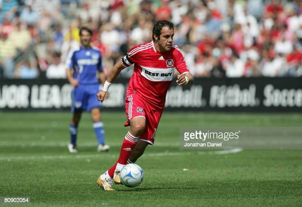 Cuauhtemoc Blanco of the Chicago Fire moves the ball on the during their MLS match against the Kansas City Wizards on April 20 2008 at Toyota Park in...