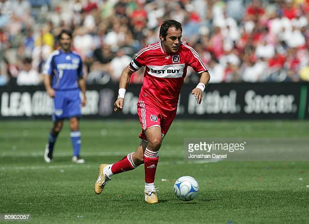 Cuauhtemoc Blanco of the Chicago Fire moves the ball the during their MLS match against the Kansas City Wizards on April 20 2008 at Toyota Park in...