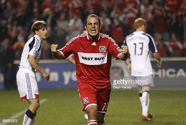 Cuauhtemoc Blanco of the Chicago Fire reacts against the New England Revolution during the second half of game 2 of the Eastern Conference Semifinals...