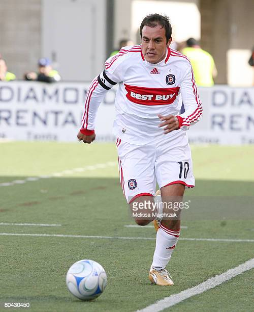 Cuauhtemoc Blanco of the Chicago Fire runs with the ball against the Real Salt Lake at Rice-Eccles Stadium March 29, 2008 in Salt Lake City, Utah.