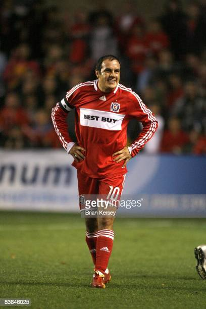 Cuauhtemoc Blanco of the Chicago Fire stands on the field against the New England Revolution during the first half of the second leg of the MLS...