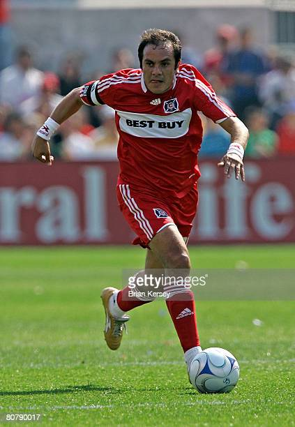 Cuauhtemoc Blanco of the Chicago Fire takes the ball up the field during the second half against the Kansas City Wizards at Toyota Park on April 20...