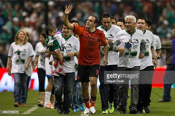Cuauhtemoc Blanco waves in his national soccer team farewell ceremony during a FIFA friendly match between Mexico and Israel ahead the beginning of...