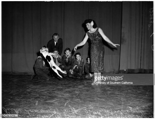 Cub scout jamboree at Shrine Auditorium 8 February 1958 Brian Olson 10 years Bruce Copley 10 years Rickie Sorensen 9 years Griffin Foster 10 years...