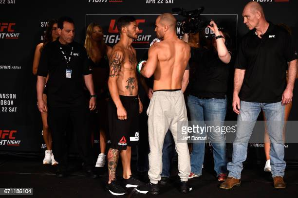 Cub Swanson and Artem Lobov of Russia face off during the UFC Fight Night weighin at the Sheraton Music City Hotel on April 21 2017 in Nashville...