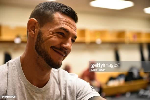 Cub Swanson has his hands wrapped prior to his bout against Frankie Edgar during the UFC Fight Night event at the Boardwalk Hall on April 21 2018 in...