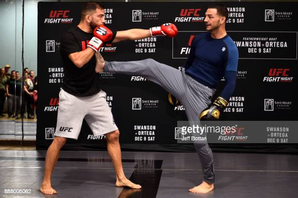 Cub Swanson holds an open training session for fans and media inside Pacific Martial Arts on December 7 2017 in Fresno California