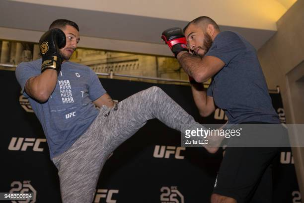 Cub Swanson participates in an open workout at Atlantic City Boardwalk Hall on April 18 2018 in Atlantic City New Jersey