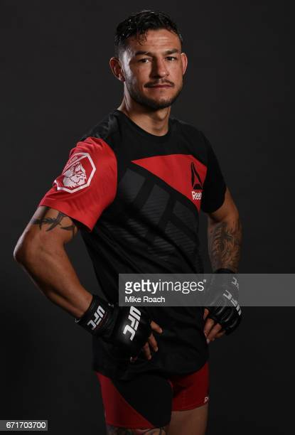 Cub Swanson poses for a portrait backstage after his victory over Artem Lobov during the UFC Fight Night event at Bridgestone Arena on April 22 2017...