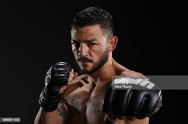 Cub Swanson poses for a portrait backstage during the UFC Fight Night event at Vivint Smart Home Arena on August 6 2016 in Salt Lake City Utah