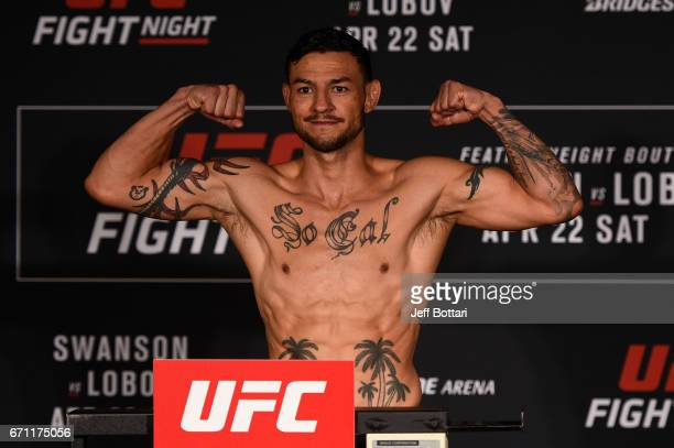 Cub Swanson poses on the scale during the UFC Fight Night weighin at the Sheraton Music City Hotel on April 21 2017 in Nashville Tennessee