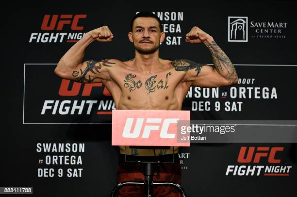 Cub Swanson poses on the scale during the UFC Fight Night weighin inside Valdez Hall on December 8 2017 in Fresno California