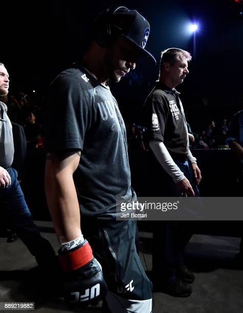 Cub Swanson prepares to enter the Octagon before facing Brian Ortega in their featherweight bout during the UFC Fight Night event inside Save Mart...