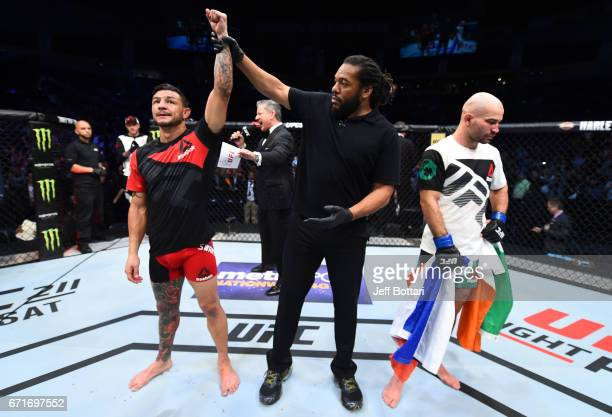 Cub Swanson reacts after his unanimousdecision victory over Artem Lobov of Russia in their featherweight bout during the UFC Fight Night event at...