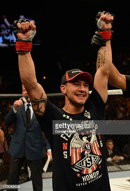 Cub Swanson reacts to his victory over Dennis Siver in their featherweight fight during the UFC 162 event inside the MGM Grand Garden Arena on July...
