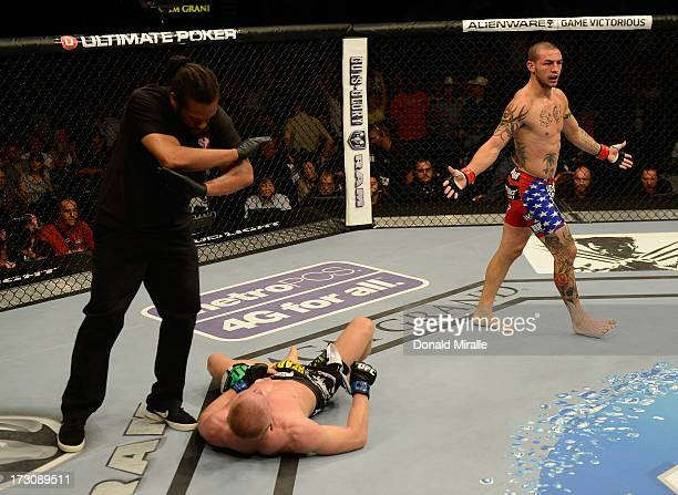 Cub Swanson reacts to his victory over Dennis Siver in their featherweight fight during the UFC 162 event inside the MGM Grand Garden Arena on July 6...