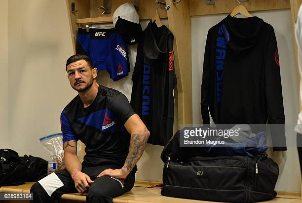 Cub Swanson relaxes backstage during the UFC 206 event inside the Air Canada Centre on December 10 2016 in Toronto Ontario Canada
