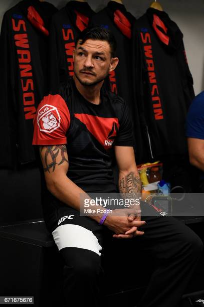 Cub Swanson relaxes in his locker room prior to his bout against Artem Lobov during the UFC Fight Night event at Bridgestone Arena on April 22 2017...