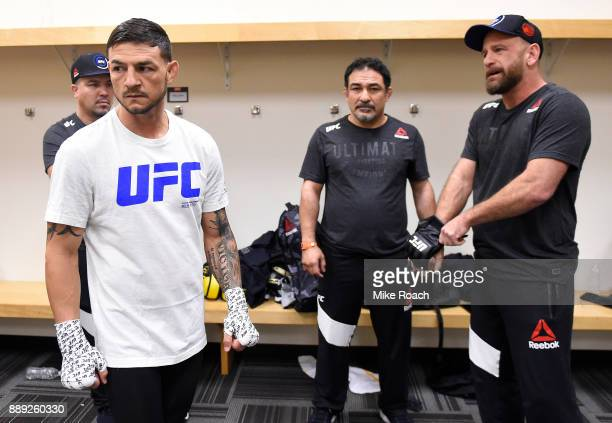 Cub Swanson warms up backstage during the UFC Fight Night event inside Save Mart Center on December 9 2017 in Fresno California